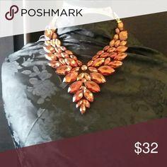 Fashion jewelry Rust color felt rhinestone Jewelry Necklaces