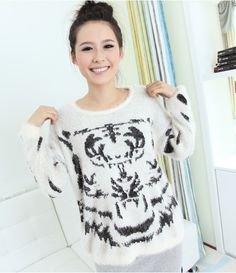 Tiger Print Fluffy jumpers,white and black Tiger Print Fluffy pullover sweater, fashion women round neck loose fluffy sweater #mohair #oversized #sweater www.loveitsomuch.com