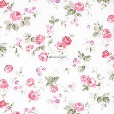Aromas 623-1 Papel de Parede Vinílico Lavável Floral Off White, Tons de Rosa, Tons de Roxo, Verde Claro