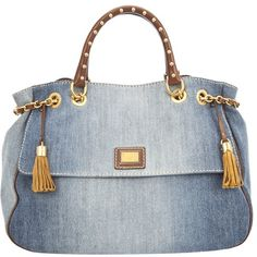 DOLCE & GABBANA BB3722A9H82 BLUE JEANS 3107401 (3.605 BRL) ❤ liked on Polyvore featuring bags, handbags, tote bags, bolsas, borse, purses, totes, women, studded purse and studded tote