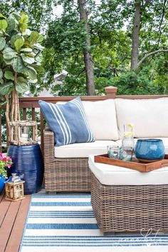 Great small deck decorating ideas! Adding string lights really helps to create the backyard oasis you've always dreamed of!
