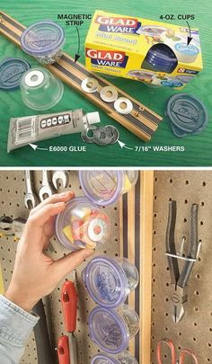 Magnetic Mini Storage on Wall. Create a wall organizer with cups, some glue and some magnetic strips. Keep all the little screws, earplugs, nuts and washers organized.