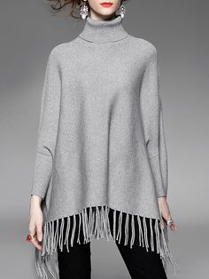 Shop Sweaters - Long Sleeve Knitted Fringed Elegant Solid Sweater online. Discover unique designers fashion at StyleWe.com.