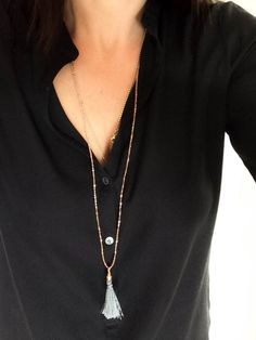 Rose Gold Long tassel necklace - Vivien Frank Designs