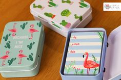 Papelaria, caixa de recado, bloco de recado, notes, design, flamingos