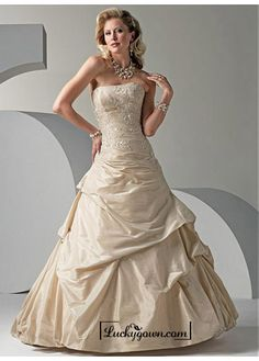 Buy Beautiful Elegant Exquisite Taffeta A-line Wedding Dress In Great Handwork Online Dress Store At LuckyGown.com