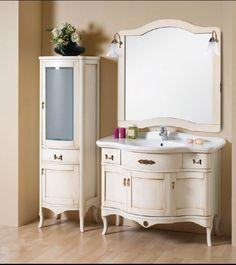 Mobile da bagno arte povera lavabo specchio arredo massello anticato bianco 110|