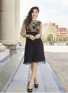 Black Color Faux Georgette Embroidered Round Neck Kurti