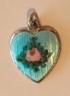 Vintage Guilloche Enamel Sterling Silver Heart Charm Pendant 2 grams #Unknown
