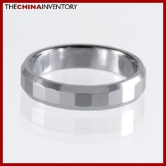 4MM SIZE 8.5 TUNGSTEN CARBIDE FACETED BAND RING R1208
