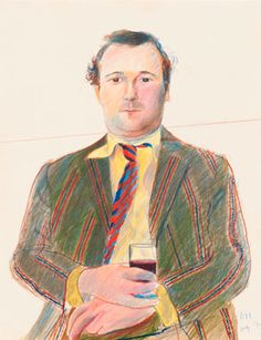 David Hockney (British, b. Portrait of Peter Langan with a glass of wine, July Coloured crayon, x cm. Peter Langan was a restaurateur and owner of Langan's Brasserie. British Artist, Art Photography, David Hockney Portraits, Illustration Art, Art, Portrait, Pop Art, David, Portrait Gallery