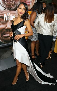2013: Kerry Washingtons Year of Scandalous Style: At the Peeples premiere in LA, Kerry played to the black-and-white craze in her Narciso Rodriguez high-low gown and Christian Louboutin pumps.