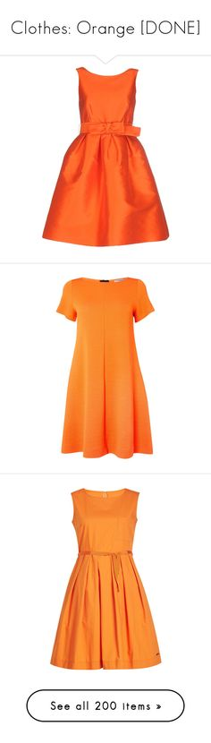 """Clothes: Orange [DONE]"" by jmn312 ❤ liked on Polyvore featuring dresses, vestidos, orange, orange sleeveless dress, short dresses, zipper dress, sleeveless short dress, short orange dress, clearance and slash neck dress"