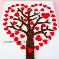 Crochet Heart Tree, Valentines Day Tree, #crochet pattern - GoldenLucyCrafts