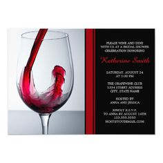 Shop Wine Glass Bridal Shower Invitations - Custom created by Personalize it with photos & text or purchase as is! Wedding Wine Glasses, Red Wine Glasses, Bridal Shower Invitations, Custom Invitations, Bridal Shower Wine, Wedding Postcard, Red Wedding, Wedding Colors, Postcards