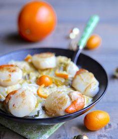 recette-saint-jacques-légumes-poireaux-citron-orange Vol Au Vent, Scallop Recipes, Potato Salad, Entrees, Seafood, Eggs, Breakfast, Ethnic Recipes, Drinks