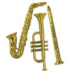 "Gold Plastic Musical Instrument Decorations $6.80 Flat on one side 17"" - 21"" tall"