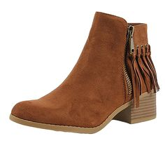 City Classified Women's Western MVE Shoes Pointy Toe Fringe Stacked Heel Ankle Bootie >>> To view further for this item, visit the image link.
