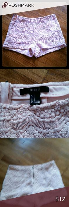 Soft Rose Pink, Lace/Crochet Shorts Beautiful and in prefect condition. No visible wear or damage, LIKE NEW. Lovely, rose pink color, with higher waist & back zipper. Pockets on the front. Forever 21 Shorts