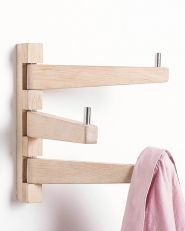Henger med 3 kroker for veggoppheng, i rustfritt stål og eik. Coat Rack Shelf, Curtain Holder, Vintage Umbrella, Standing Coat Rack, Bent Wood, Pine Furniture, Hanging Organizer, Coat Stands, Wood Interiors