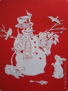 Картина панно рисунок Новый год Вырезание Морковочкой не поделитесь? Бумага фото 1