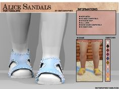 The Sims 4 Alice Sandals (Toddler Version) Toddler Cc Sims 4, Sims 4 Toddler Clothes, Sims 4 Cc Kids Clothing, Sims 4 Mods Clothes, Sims Mods, Toddler Shoes, Toddler Stuff, Maxis, The Sims 4 Bebes