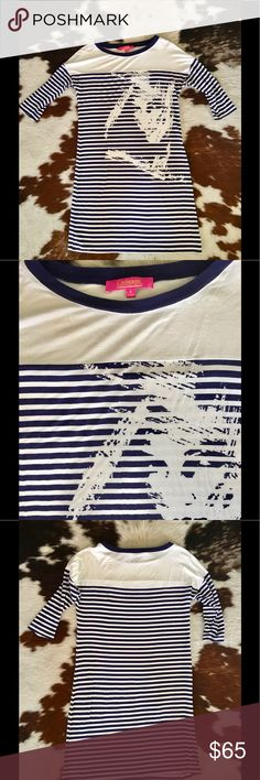 Catherine Malandrino Dress Navy and white stripes with face graphic. Slight dolman sleeves that hit just below the elbow. Hem hits just above the knee. Super comfortable and soft. Cute to wear with flats or sandals for a fun, summer look Catherine Malandrino Dresses