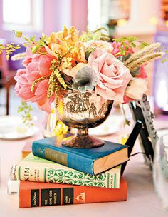 Brighten up the table with flowers on top of stacked books. Yes, sometimes I need reminded of the basics.