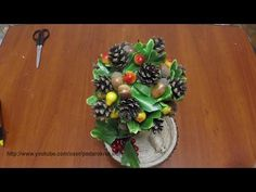Топиарий из шишек и желудей. Topiary of cones and acorns - YouTube