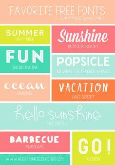 Favorite Free Fonts from www.alexamariezurcher.com  ~~ {10 free fonts w/ links} ~~