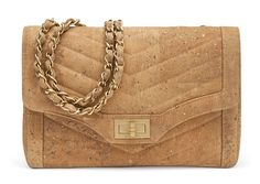 A LIMITED EDITION CORK LEATHER SINGLE FLAP BAG
