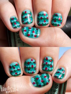 Little Nails: cute Christmas tree dotting nail art