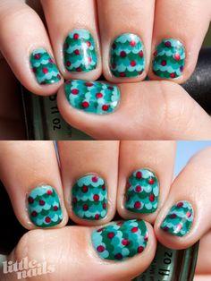 Little Nails: cute Christmas tree dotting nail art