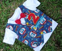 Thomas the Train Birthday Shirt or Onesie Tuxedo Style - Perfect for 1st or 2nd birthday boy outfit features number and name applique. $28.00, via Etsy.
