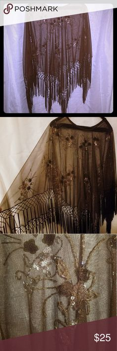 Evening Embellished Fringed Poncho This is a stunning brown embellished fringed poncho. There is no size tag but I'm an XL and it fits perfectly. Tops Tunics