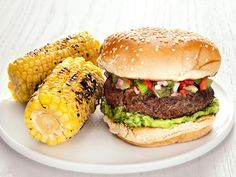 Get Burgers with Green Tomato Salsa Recipe from Food Network