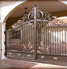 Irnamental Beautiful Wrought Iron Entance Gate for Driveway - China Driveway Gates, Security Gates Grill Gate Design, Front Gate Design, Main Gate Design, House Gate Design, Door Gate Design, Wrought Iron Driveway Gates, Iron Garden Gates, Metal Gates, Wrought Iron Doors