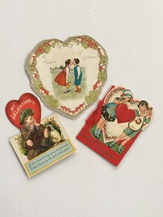 """Vintage Valentine""""s Day Heart Cards set of 3 Antique by GardenBarn on Etsy"""