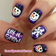 """Winter/Christmas Nail Art ~Purple And Blue """"Let it Snow"""" Nail Art with Snowmen and Snowflakes"""