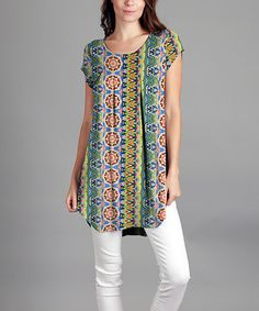 Look what I found on #zulily! Green & Blue Abstract-Stripe Pleated Cap-Sleeve Tunic - Plus #zulilyfinds