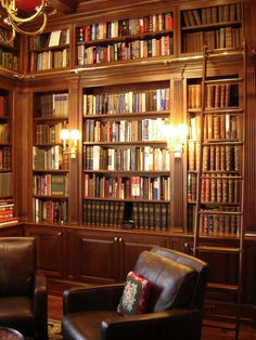 I would love to have a similar library in my home. Cherry shelves from floor to ceiling and wall to wall with matching ladder, leather chairs, an interesting chandelier... and I'd tuck some curiosity cabinets between books with glass doors for specimens and fossils.