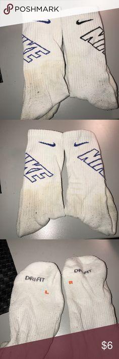 Nike Crew Socks Nike Crew Socks. White & Blue. White & Black. (could easily be bleached and look brand new again.) $5 Each. Nike Underwear & Socks Athletic Socks