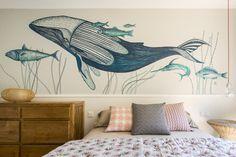 Inspiring residence located in Barcelona, Spain, designed by Meritxell Ribé - The Room Studio. Whale Themed Nursery, Sea Nursery, Nursery Wall Decor, Nursery Themes, Wall Painting Decor, Wall Art Decor, Art Mural, Wall Murals, Whale Decor