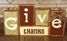 Give Thanks Thanksgiving Wood Block Decor on Etsy, $20.95