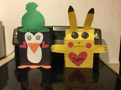 Valentine boxes!! Peyton's penguin and Jaylins pikichu Pokemon boxes