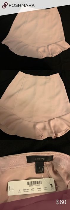 J. Crew Ruffle Skirt Brand new with tags. Color is light pink. 100% polyester. And has a lining. Every pretty and girly. Stops above the knee J. Crew Skirts Mini