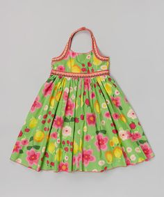 Look what I found on #zulily! Green Floral Embroidered Halter Dress - Toddler & Girls by Funkyberry #zulilyfinds