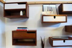 Floating Nightstand Console Shelving walnut by ImagoFurniture