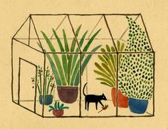 Lara Hawthorne; Cat attacking mouse in the greenhouse jungle!