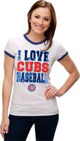 Chicago Cubs White Women's Crewneck Ringer T-Shirt